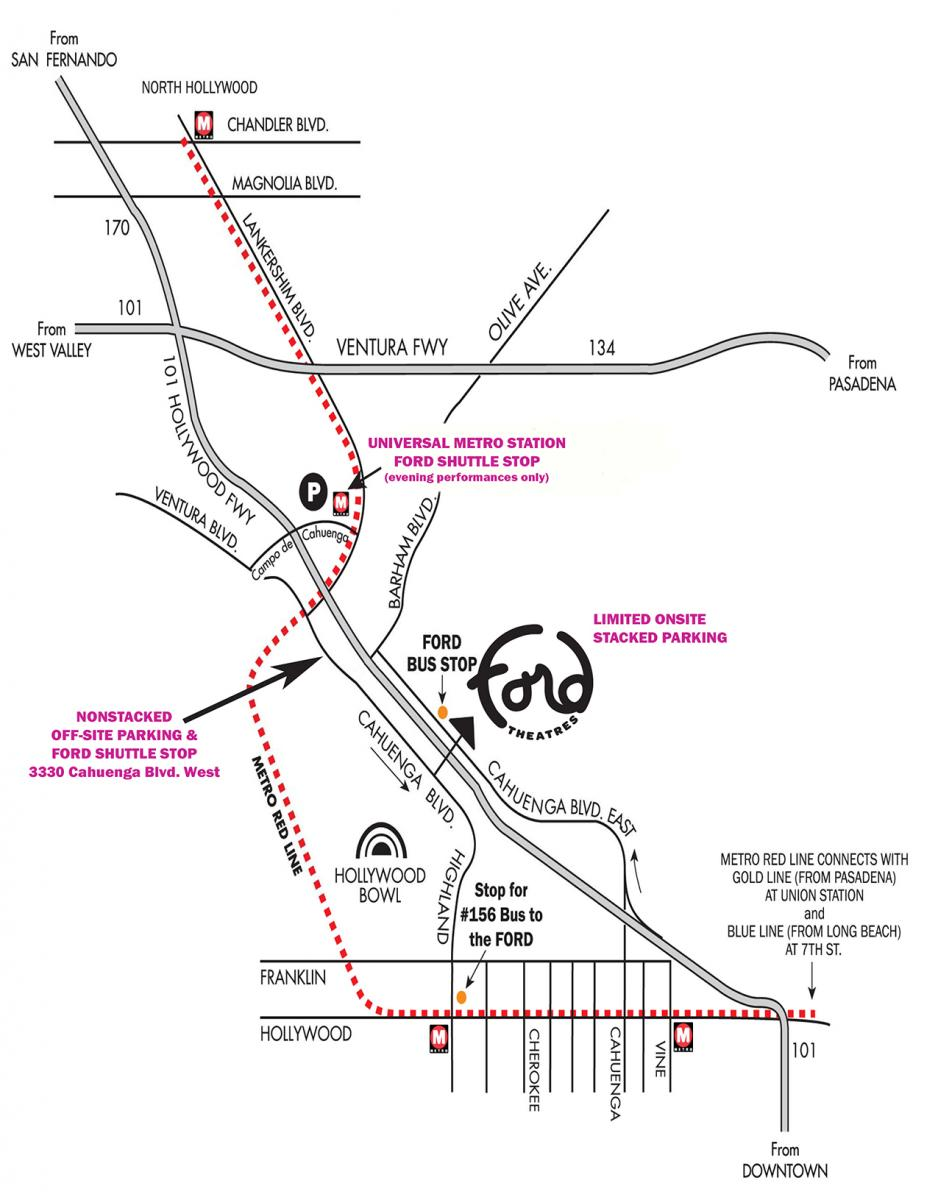 Ford Theatres parking, Metro and bus map