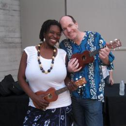 Yolanda and Jonathan with ukuleles at a JAM Session -- they have been coming to the Ford since 2013.
