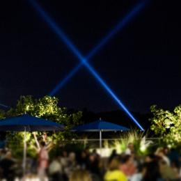 The Zev Terrace at night